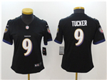 Baltimore Ravens #9 Justin Tucker Women's Black Vapor Untouchable Limited Jersey