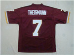 Washington Redskins #7 Joe Theismann Throwback Burgundy Jersey