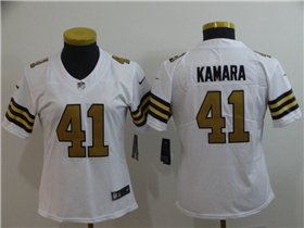 New Orleans Saints #41 Alvin Kamara Women's White Color Rush Limited Jersey