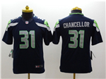 Seattle Seahawks #31 Kam Chancellor Youth Navy Blue Jersey
