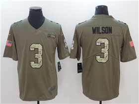 Seattle Seahawks #3 Russell Wilson 2017 Olive Camo Salute To Service Limited Jersey