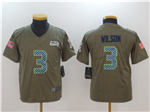 Seattle Seahawks #3 Russell Wilson Youth Olive Salute To Service Limited Jersey