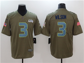 Seattle Seahawks #3 Russell Wilson 2017 Olive Salute To Service Limited Jersey