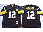 Pittsburgh Steelers #12 Terry Bradshaw 1975 Throwback Black Jersey