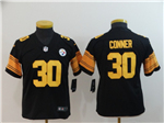 Pittsburgh Steelers #30 James Conner Youth Black Color Rush Limited Jersey