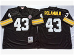 Pittsburgh Steelers #43 Troy Polamalu Throwback Black Jersey