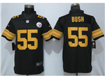 Pittsburgh Steelers #55 Devin Bush Black Color Rush Limited Jersey