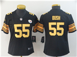 Pittsburgh Steelers #55 Devin Bush Women's Black Color Rush Limited Jersey