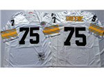 Pittsburgh Steelers #75 Joe Greene 1975 Throwback White Jersey
