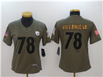 Pittsburgh Steelers #78 Alejandro Villanueva Women's Olive Salute To Service Limited Jersey