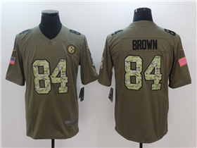 Pittsburgh Steelers #84 Antonio Brown 2017 Olive Camo Salute To Service Limited Jersey