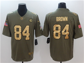 Pittsburgh Steelers #84 Antonio Brown 2017 Olive Gold Salute To Service Limited Jersey