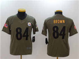 Pittsburgh Steelers #84 Antonio Brown Youth Olive Salute To Service Limited Jersey