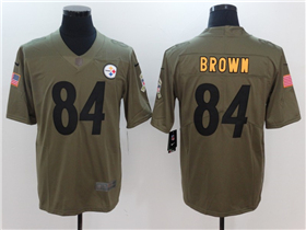 Pittsburgh Steelers #84 Antonio Brown 2017 Olive Salute To Service Limited Jersey
