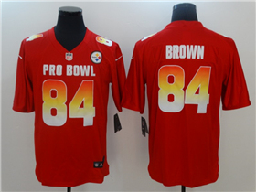 AFC Pittsburgh Steelers #84 Antonio Brown Red 2019 Pro Bowl Game Jersey