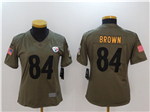 Pittsburgh Steelers #84 Antonio Brown Women's Olive Salute To Service Limited Jersey