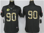Pittsburgh Steelers #90 T.J. Watt Anthracite Women's Salute to Service Jersey