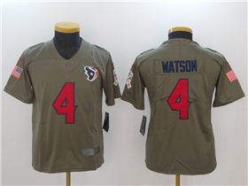 Houston Texans #4 Deshaun Watson Youth Olive Salute To Service Limited Jersey