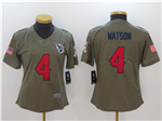 Houston Texans #4 Deshaun Watson Women's Olive Salute To Service Limited Jersey