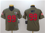 Houston Texans #99 J.J. Watt Youth Olive Salute To Service Limited Jersey