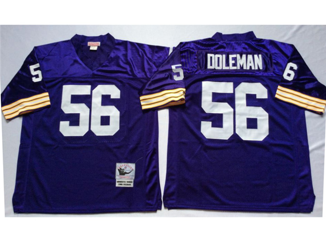 Minnesota Vikings #56 Chris Doleman Throwback Purple Jersey