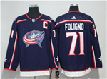 Columbus Blue Jackets #71 Nick Foligno Navy Blue Jersey