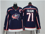 Columbus Blue Jackets #71 Nick Foligno Women's Navy Blue Jersey