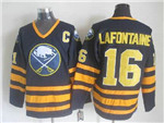 Buffalo Sabres #16 Pat LaFontaine CCM Vintage Navy Blue Jersey