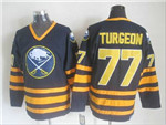 Buffalo Sabres #77 Pierre Turgeon CCM Vintage Navy Blue Jersey