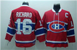Montreal Canadiens #16 Henri Richard Throwback Red Jersey
