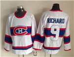 Montreal Canadiens #9 Maurice Richard 1945 CCM Vintage White Jersey