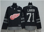 Detroit Red Wings #71 Dylan Larkin Black 100th Anniversary Jersey