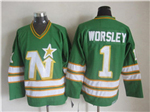 Minnesota North Stars #1 Gump Worsley 1970's CM Vintage Green Jersey