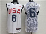 2008 Olympic Team USA #6 Lebron James White Jersey
