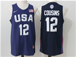 2016 Olympic Team USA #12 DeMarcus Cousins Navy Jersey