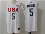 2016 Olympic Team USA #5 Kevin Durant White Jersey