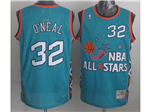 1996 NBA All-Star Game Eastern Conference #32 Shaquille O'Neal Teal Hardwood Classic Jersey