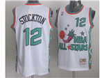 1996 NBA All-Star Game Western Conference #12 John Stockton White Hardwood Classic Jersey