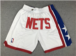 New Jersey Nets Just Don White Basketball Shorts