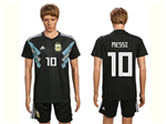 Argentina 2018 World Cup Away Black Soccer Jersey with #10 Messi printing