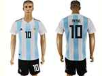 Argentina 2018 World Cup Home Blue/White Soccer Jersey with #10 Messi printing