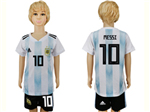 Argentina 2018 World Cup Home Youth Blue/White Soccer Jersey with #10 Messi printing