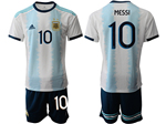 Argentina 2019/20 Home Youth Blue/White Soccer Jersey with #10 Messi printing