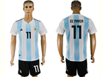 Argentina 2018 World Cup Home Blue/White Soccer Jersey with #11 di María Printing