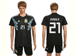 Argentina 2018 World Cup Away Black Soccer Jersey with #21 Dybala printing