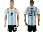 Argentina 2018 World Cup Home Blue/White Soccer Jersey with #21 Dybala printing