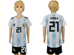 Argentina 2018 World Cup Home Youth Blue/White Soccer Jersey with #21 Dybala printing