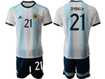 Argentina 2019/20 Home Youth Blue/White Soccer Jersey with #21 Dybala printing