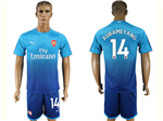 Arsenal F.C. 2017/18 Away Blue Soccer Jersey with #14 Aubameyang Printing