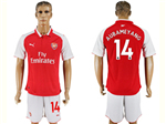 Arsenal F.C. 2017/18 Home Red Soccer Jersey with #14 Aubameyang Printing